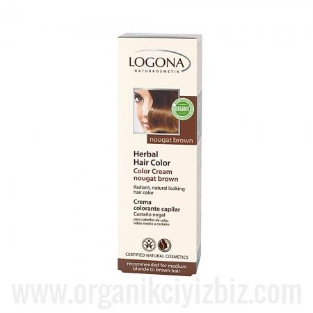Açık Kumral & Kahve Renkli Saçlar İçin - Fındık Rengi Bitkisel Krem Boya 150ml - 01122 - Logona