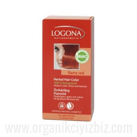 Organik Bitkisel Toz Saç Boyası - Ateş Kırmızısı 100g - 01103 - Logona