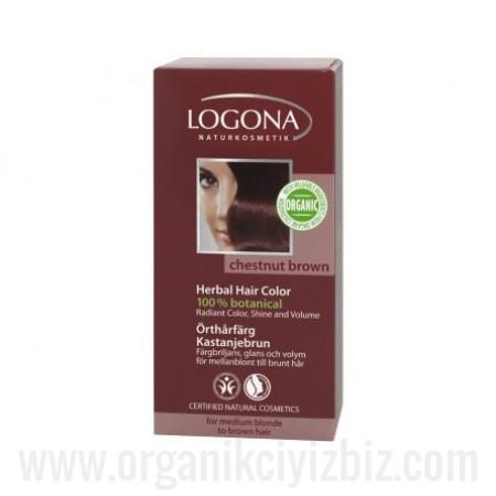 Organik Bitkisel Toz Saç Boyası - Kestane Rengi 100g - 01106 - Logona