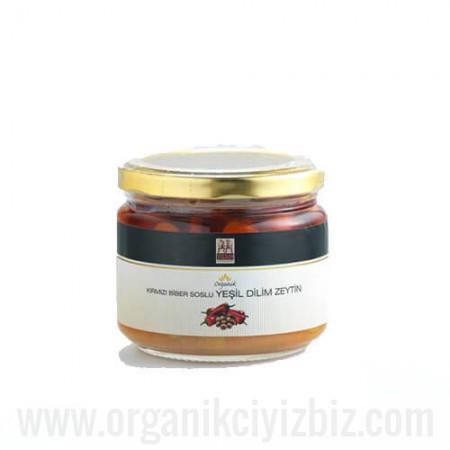 Organik Dilim Yeşil Zeytin (Kırmızı Biber Soslu) - Yerlim